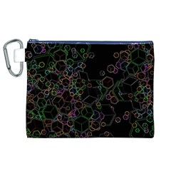 Boxs Black Background Pattern Canvas Cosmetic Bag (xl) by Simbadda