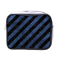 Stripes3 Black Marble & Blue Stone Mini Toiletries Bag (one Side) by trendistuff