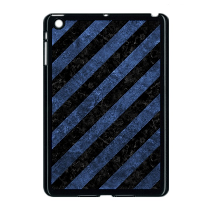 STRIPES3 BLACK MARBLE & BLUE STONE Apple iPad Mini Case (Black)