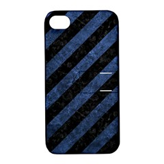 Stripes3 Black Marble & Blue Stone Apple Iphone 4/4s Hardshell Case With Stand by trendistuff