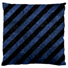 Stripes3 Black Marble & Blue Stone Standard Flano Cushion Case (two Sides) by trendistuff