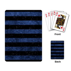 Stripes2 Black Marble & Blue Stone Playing Cards Single Design by trendistuff