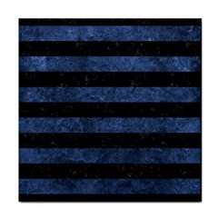 Stripes2 Black Marble & Blue Stone Face Towel by trendistuff