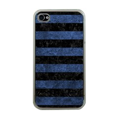 Stripes2 Black Marble & Blue Stone Apple Iphone 4 Case (clear)