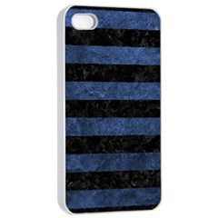 Stripes2 Black Marble & Blue Stone Apple Iphone 4/4s Seamless Case (white) by trendistuff