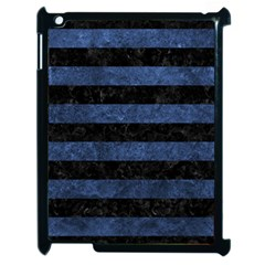 Stripes2 Black Marble & Blue Stone Apple Ipad 2 Case (black) by trendistuff
