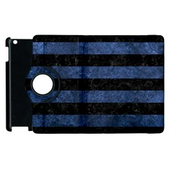 Stripes2 Black Marble & Blue Stone Apple Ipad 3/4 Flip 360 Case by trendistuff