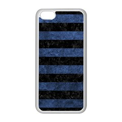 Stripes2 Black Marble & Blue Stone Apple Iphone 5c Seamless Case (white) by trendistuff