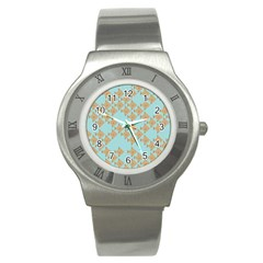 Fish Animals Brown Blue Line Sea Beach Stainless Steel Watch by Alisyart
