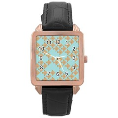 Fish Animals Brown Blue Line Sea Beach Rose Gold Leather Watch  by Alisyart