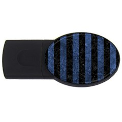 Stripes1 Black Marble & Blue Stone Usb Flash Drive Oval (2 Gb) by trendistuff