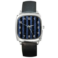 Stripes1 Black Marble & Blue Stone Square Metal Watch by trendistuff
