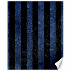 Stripes1 Black Marble & Blue Stone Canvas 16  X 20  by trendistuff