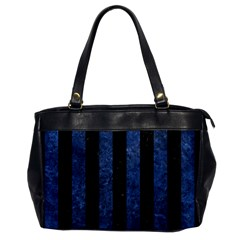 Stripes1 Black Marble & Blue Stone Oversize Office Handbag by trendistuff