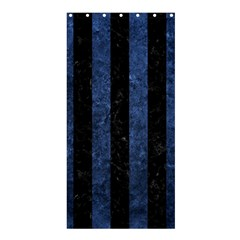 Stripes1 Black Marble & Blue Stone Shower Curtain 36  X 72  (stall) by trendistuff