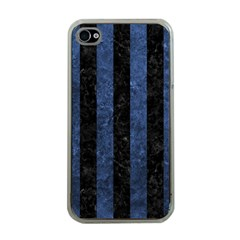 Stripes1 Black Marble & Blue Stone Apple Iphone 4 Case (clear)