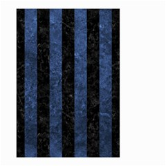 Stripes1 Black Marble & Blue Stone Small Garden Flag (two Sides) by trendistuff