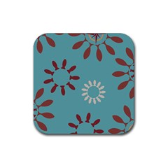Fish Animals Star Brown Blue White Rubber Coaster (square)  by Alisyart