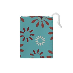 Fish Animals Star Brown Blue White Drawstring Pouches (small)  by Alisyart