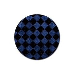 Square2 Black Marble & Blue Stone Rubber Coaster (round) by trendistuff