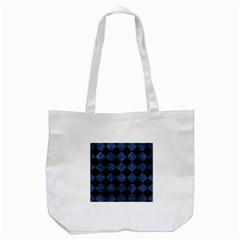 Square2 Black Marble & Blue Stone Tote Bag (white) by trendistuff