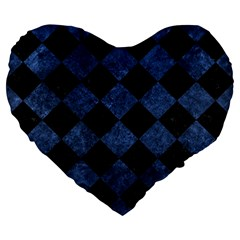 Square2 Black Marble & Blue Stone Large 19  Premium Flano Heart Shape Cushion by trendistuff