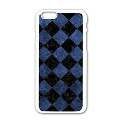 Square2 Black Marble & Blue Stone Apple Iphone 6/6s White Enamel Case by trendistuff