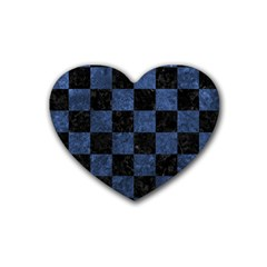 Square1 Black Marble & Blue Stone Rubber Coaster (heart) by trendistuff