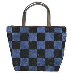 Square1 Black Marble & Blue Stone Bucket Bag by trendistuff