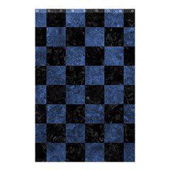 Square1 Black Marble & Blue Stone Shower Curtain 48  X 72  (small) by trendistuff