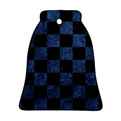 Square1 Black Marble & Blue Stone Bell Ornament (two Sides) by trendistuff