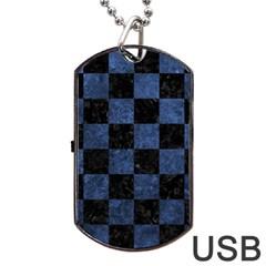 SQR1 BK-MRBL BL-STONE Dog Tag USB Flash (Two Sides) by trendistuff