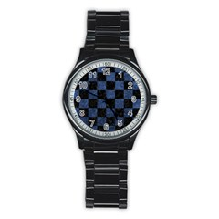 Square1 Black Marble & Blue Stone Stainless Steel Round Watch by trendistuff