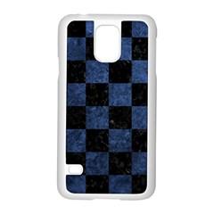 Square1 Black Marble & Blue Stone Samsung Galaxy S5 Case (white) by trendistuff