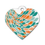 Fish Color Rainbow Orange Blue Animals Sea Beach Dog Tag Heart (Two Sides) Front
