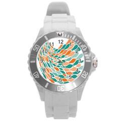 Fish Color Rainbow Orange Blue Animals Sea Beach Round Plastic Sport Watch (l) by Alisyart