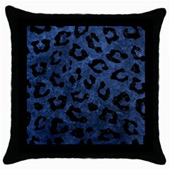 Skin5 Black Marble & Blue Stone Throw Pillow Case (black) by trendistuff