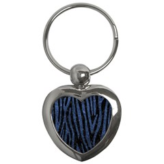 Skin4 Black Marble & Blue Stone (r) Key Chain (heart)