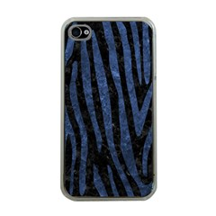 Skin4 Black Marble & Blue Stone (r) Apple Iphone 4 Case (clear)