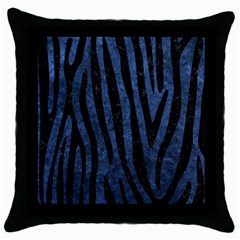 Skin4 Black Marble & Blue Stone Throw Pillow Case (black) by trendistuff