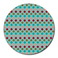 Large Circle Rainbow Dots Color Red Blue Pink Round Mousepads by Alisyart