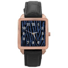 Skin4 Black Marble & Blue Stone Rose Gold Leather Watch  by trendistuff