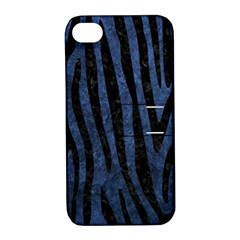 Skin4 Black Marble & Blue Stone Apple Iphone 4/4s Hardshell Case With Stand by trendistuff