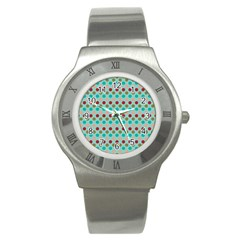 Large Circle Rainbow Dots Color Red Blue Pink Stainless Steel Watch by Alisyart