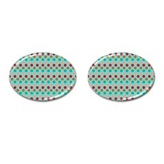 Large Circle Rainbow Dots Color Red Blue Pink Cufflinks (oval) by Alisyart