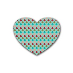 Large Circle Rainbow Dots Color Red Blue Pink Rubber Coaster (heart)  by Alisyart