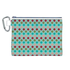 Large Circle Rainbow Dots Color Red Blue Pink Canvas Cosmetic Bag (l) by Alisyart