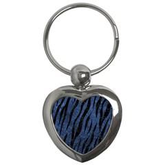 Skin3 Black Marble & Blue Stone (r) Key Chain (heart)