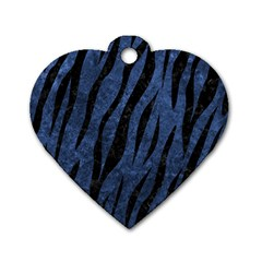 Skin3 Black Marble & Blue Stone (r) Dog Tag Heart (two Sides) by trendistuff