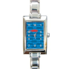 Fish Line Sea Beach Swim Red Blue Rectangle Italian Charm Watch by Alisyart